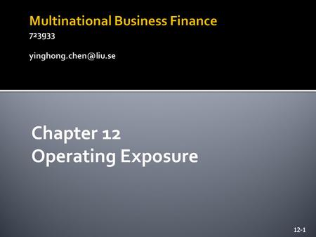 Multinational Business Finance 723g33