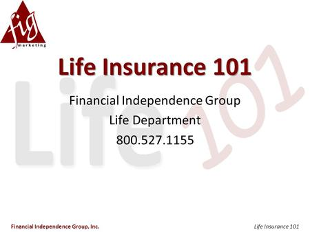 Life Insurance 101 Financial Independence Group Life Department 800.527.1155 Financial Independence Group, Inc.Life Insurance 101.