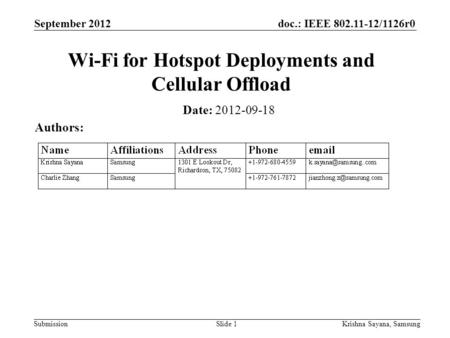 Doc.: IEEE 802.11-12/1126r0 Submission September 2012 Krishna Sayana, SamsungSlide 1 Wi-Fi for Hotspot Deployments and Cellular Offload Date: 2012-09-18.