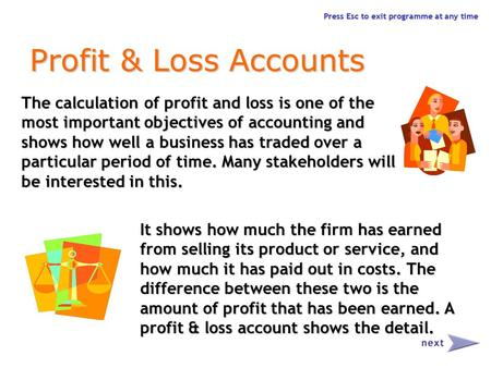 Press Esc to exit programme at any time Profit & Loss Accounts The calculation of profit and loss is one of the most important objectives of accounting.