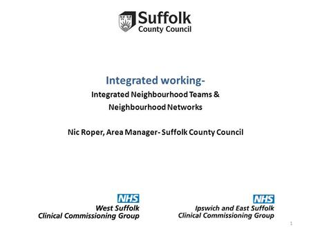 Integrated working- Integrated Neighbourhood Teams & Neighbourhood Networks Nic Roper, Area Manager- Suffolk County Council 1.