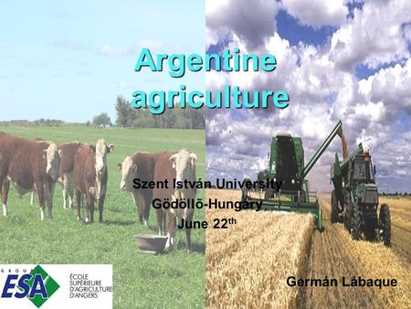 Argentine agriculture Szent István University Gödöllõ-Hungary June 22 th Germán Lábaque.
