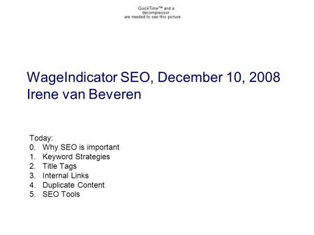 WageIndicator SEO, December 10, 2008 Irene van Beveren Today: 0.Why SEO is important 1.Keyword Strategies 2.Title Tags 3.Internal Links 4.Duplicate Content.