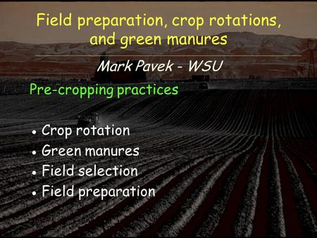 Field preparation, crop rotations, and green manures Mark Pavek - WSU Pre-cropping practices ●Crop rotation ●Green manures ●Field selection ●Field preparation.