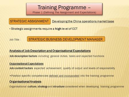 Training Programme – Phase 1 (Defining The Assignment and Expectations) Training Programme – Phase 1 (Defining The Assignment and Expectations) STRATEGIC.