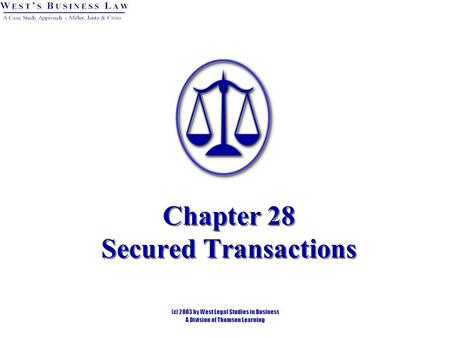Chapter 28 Secured Transactions. 2 Overview Liens. Consensual Liens. Art.9 secured transactions = personal property. Mortgages = real property. Statutory.