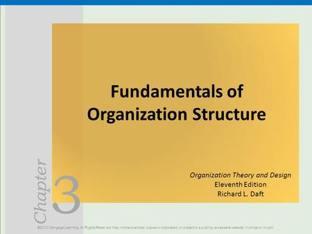 3 Chapter Fundamentals of Organization Structure ©2013 Cengage Learning. All Rights Reserved. May not be scanned, copied or duplicated, or posted to a.