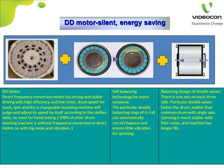 DD motor-silent, energy saving DD motor: Direct frequency conversion motor has strong and stable driving with high efficiency and low noise; drum speed.