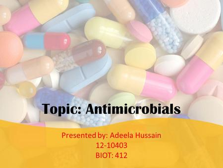 Topic: Antimicrobials