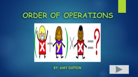 ORDER OF OPERATIONS BY: AMY DUTTON. Content Area: Mathematics Grade Level: 5 th Grade Summary: The purpose of this powerpoint is for students to learn.