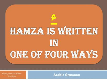 Arabic Grammar Happy Land for Islamic Teachings. by itself on the line, as in جاءَ جاءَ Happy Land for Islamic Teachings Hamza is written in one of four.