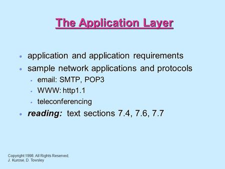 The Application Layer  application and application requirements  sample network applications and protocols    SMTP, POP3  WWW: http1.1  teleconferencing.