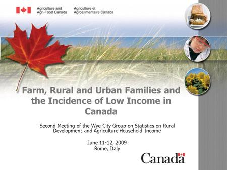 07-094-dp Farm, Rural and Urban Families and the Incidence of Low Income in Canada Second Meeting of the Wye City Group on Statistics on Rural Development.