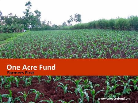 One Acre Fund Farmers First www.oneacrefund.org. One Acre Fund We serve one-acre farm families in East Africa We invest in hard-working families  Proven.