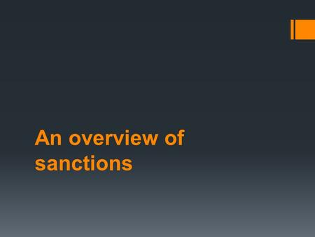 An overview of sanctions. imprisonment  Imprisonment is the most severe punishment available to the courts in Australia and is reserved for those who,