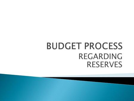 REGARDING RESERVES.  The operating budget for your association is prepared every year to project the next years expenses and determine the amount of.