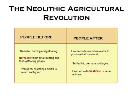 The Neolithic Agricultural Revolution PEOPLE BEFORE Relied on hunting and gathering. Nomads lived in small hunting and food-gathering groups. Waited for.