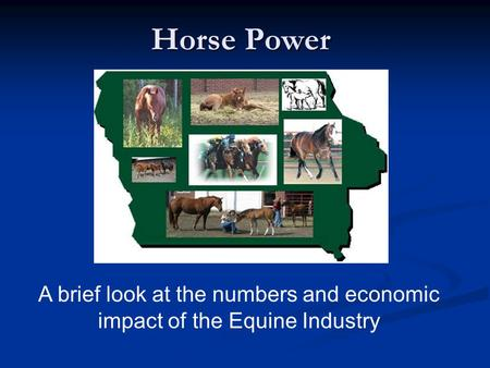 Horse Power A brief look at the numbers and economic impact of the Equine Industry.