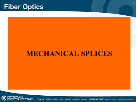 Fiber Optics MECHANICAL SPLICES.