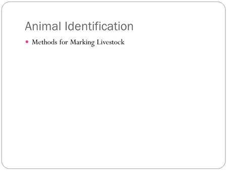 Animal Identification Methods for Marking Livestock.