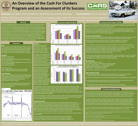 An Overview of the Cash For Clunkers Program and an Assessment of its Success Students: Sam Block, Drew Christensen, April Ross and Laurelyn Wieseman Faculty.