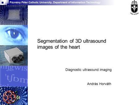 András Horváth Segmentation of 3D ultrasound images of the heart Diagnostic ultrasound imaging.