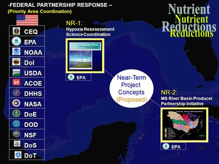 EPA NOAA DoI ACOE DHHS NASA DoE DOD NSF DoS -FEDERAL PARTNERSHIP RESPONSE – (Priority Area Coordination) CEQ USDA DoT Near-TermProjectConcepts(Proposed)