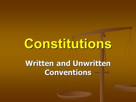 Written and Unwritten Conventions