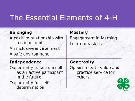 The Essential Elements of 4-H Belonging A positive relationship with a caring adult An inclusive environment A safe environment Mastery Engagement in learning.