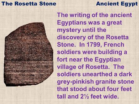 The Rosetta Stone Ancient Egypt