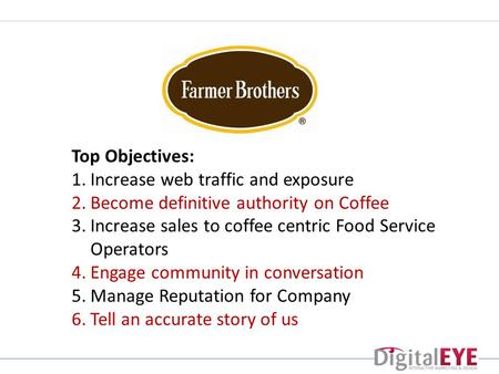 Top Objectives: 1.Increase web traffic and exposure 2.Become definitive authority on Coffee 3.Increase sales to coffee centric Food Service Operators 4.Engage.