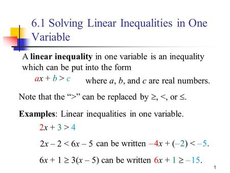 "1 Note that the "">"" can be replaced by , <, or . Examples: Linear inequalities in one variable. 2x – 2 < 6x – 5 A linear inequality in one variable is."