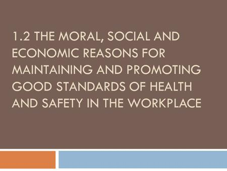 1.2 THE MORAL, SOCIAL AND ECONOMIC REASONS FOR MAINTAINING AND PROMOTING GOOD STANDARDS OF HEALTH AND SAFETY IN THE WORKPLACE.