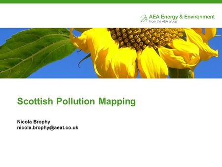 Scottish Pollution Mapping Nicola Brophy