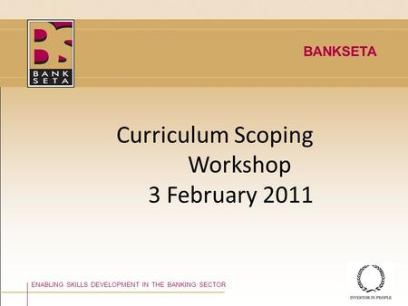 Curriculum Scoping Workshop 3 February 2011 ENABLING SKILLS DEVELOPMENT IN THE BANKING SECTOR BANKSETA.