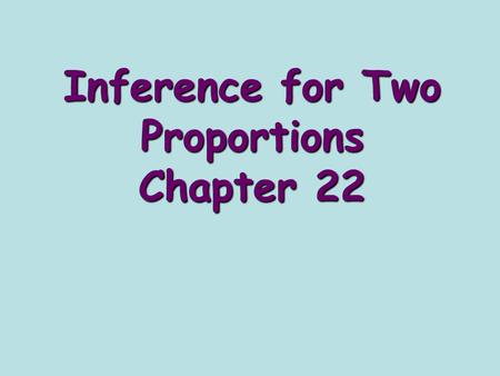 Inference for Two Proportions Chapter 22