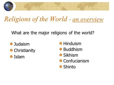 an overview of the major religions of the world and the relation of christianity to judaism World religions overview some of these religions, such as christianity and judaism no single founder and is the most diverse of all major world religions.