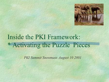 Inside the PKI Framework: * Activating the Puzzle Pieces PKI Summit Snowmass August 10 2001.