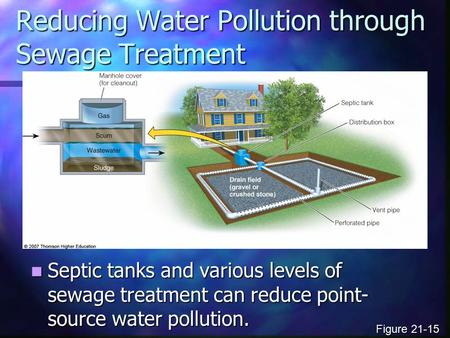 Reducing Water Pollution through Sewage Treatment Septic tanks and various levels of sewage treatment can reduce point- source water pollution. Septic.