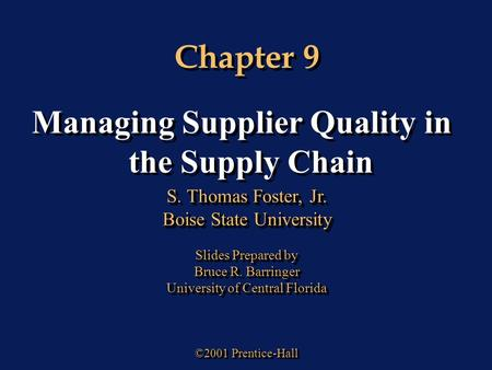 Managing Supplier Quality in the Supply Chain