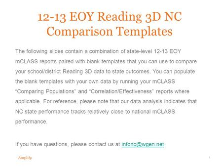 1 12-13 EOY Reading 3D NC Comparison Templates The following slides contain a combination of state-level 12-13 EOY mCLASS reports paired with blank templates.