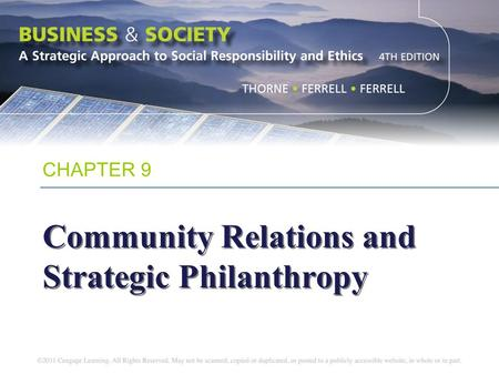 Community Relations and Strategic Philanthropy