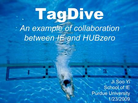 TagDive An example of collaboration between IE and HUBzero Ji Soo Yi School of IE Purdue University 1/23/2009.