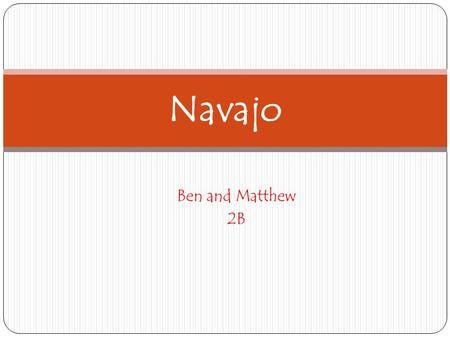 Ben and Matthew 2B Navajo. Location The Native American Navajo tribe.is one of the largest tribes of American Indians. They lived in the south west in.