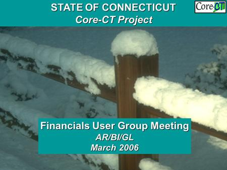 Financials User Group Meeting BI/AR/GL November 2005 STATE OF CONNECTICUT Core-CT Project Financials User Group Meeting AR/BI/GL March 2006.