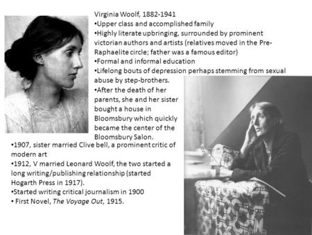 Virginia Woolf, 1882-1941 Upper class and accomplished family Highly literate upbringing, surrounded by prominent victorian authors and artists (relatives.