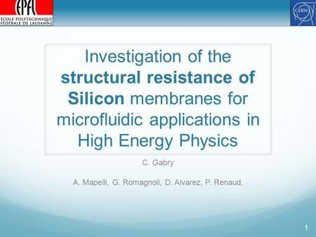 Investigation of the structural resistance of Silicon membranes for microfluidic applications in High Energy Physics C. Gabry A. Mapelli, G. Romagnoli,