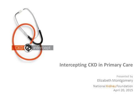 Intercepting CKD in Primary Care Presented by Elizabeth Montgomery National Kidney Foundation April 20, 2015.