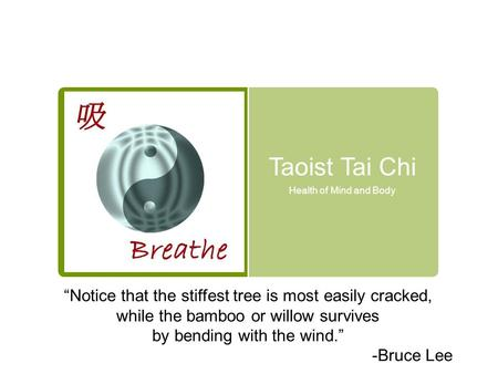 "Taoist Tai Chi Health of Mind and Body ""Notice that the stiffest tree is most easily cracked, while the bamboo or willow survives by bending with the wind."""