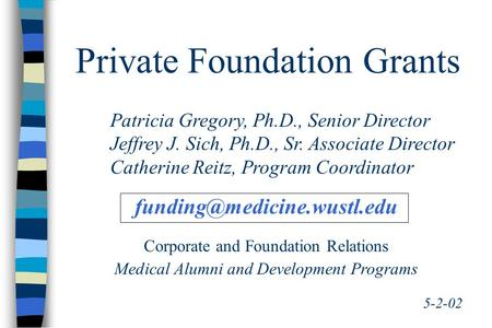 Private Foundation Grants 5-2-02 Patricia Gregory, Ph.D., Senior Director Jeffrey J. Sich, Ph.D., Sr. Associate Director Catherine Reitz, Program Coordinator.